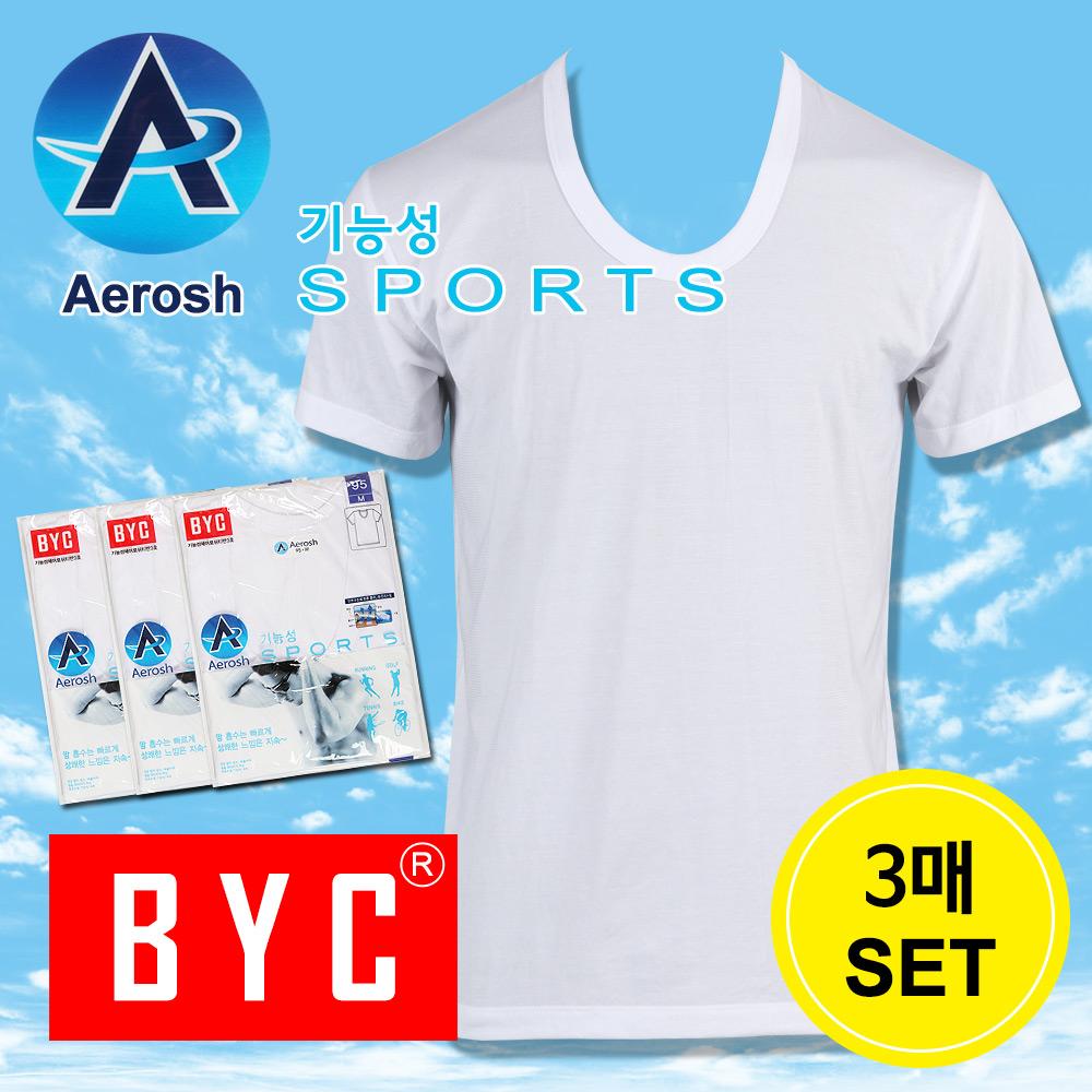 BYC 에어로쉬 3매기능성쿨 스포츠 남성반팔런닝(1118)