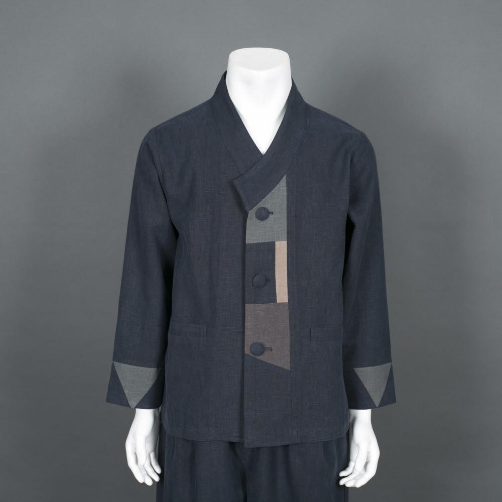 부국사임당 남성 생활한복 개량한복 린넨 배색패치 저고리 바지 생활한복(개량한복)