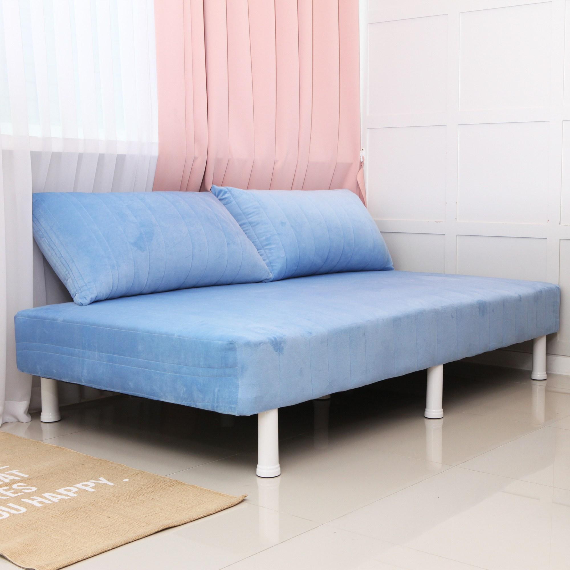 미코퍼니처 (수도권무배&케미컬라텍스증정이벤트)원룸 단면매트리스 침대 발통포함, 블루