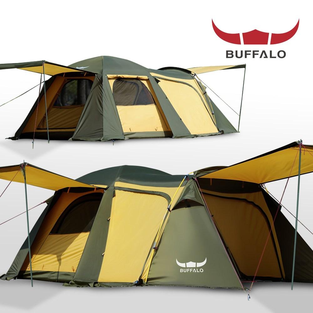 버팔로 리빙쉘 와이드 돔 텐트 7인용 4면 확장형전실, 7, 머스타드 (POP 1808828371)