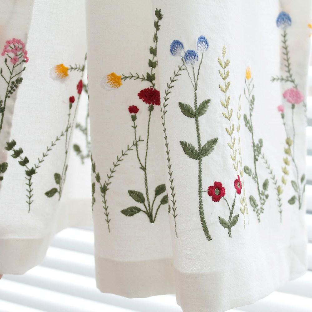 모모제작소 꽃길따라 자수 코튼 가리개커튼 81x138, 꽃길따라 자수 백아이보리