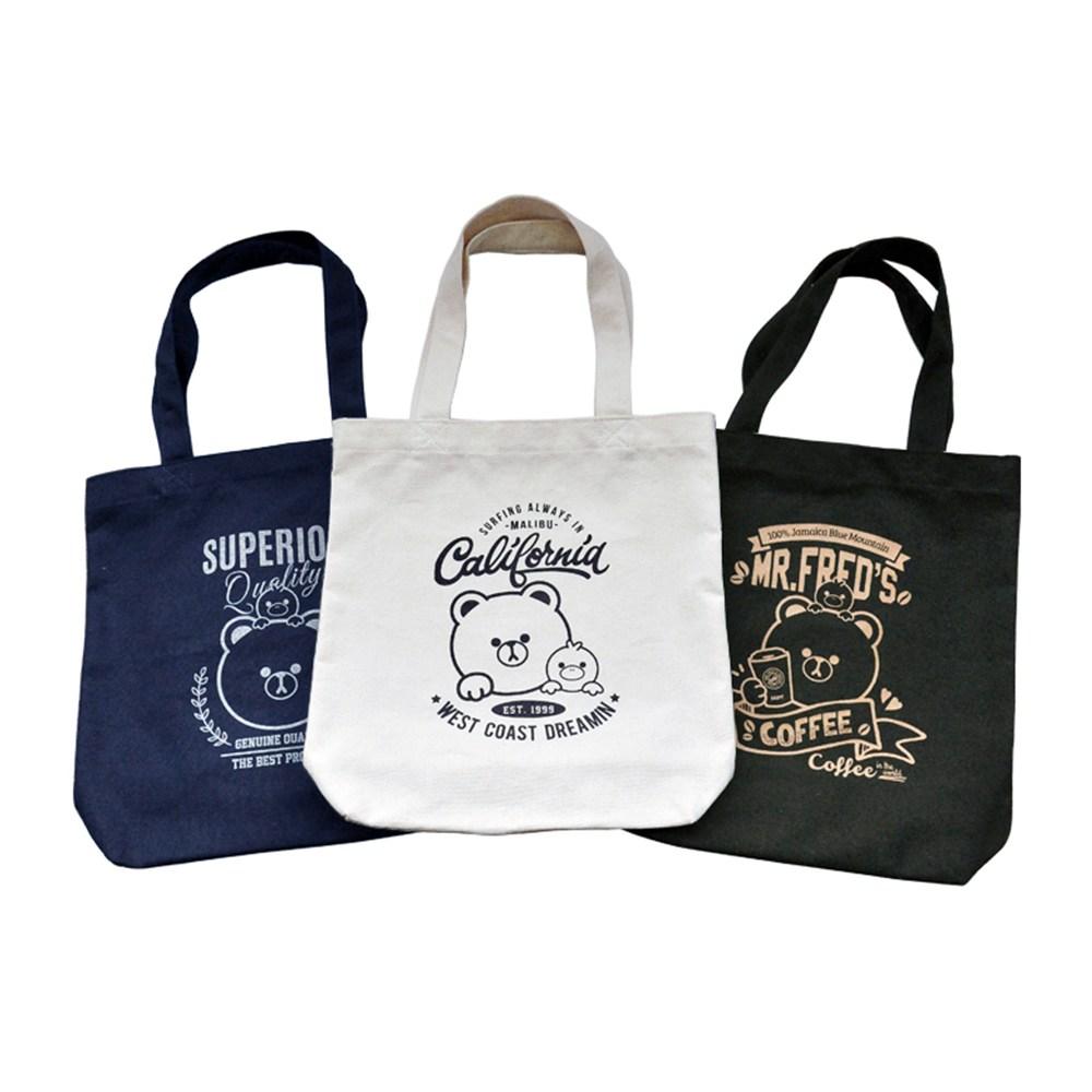 (2개묶음)라인아트 프레드 곰 캐릭터 에코백 파우치 가방 에코백 수영가방 여행용백팩 토트백 수납