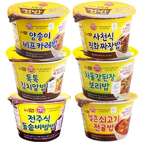 오뚜기 컵밥6종 쇠고기전골+전주돌솥+차돌강된장+톡톡김치알밥+양송이카레+사천짜장, 1세트