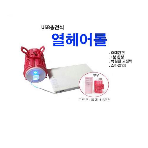 투에이산업 휴대용 USB 충전식 열 헤어롤 셋팅롤, 핑크, USB 충전식 헤어롤