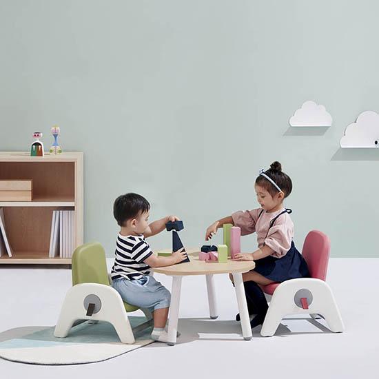[시디즈 본사] atti(아띠) 유아 책상+의자 세트, 라이트우드:블루