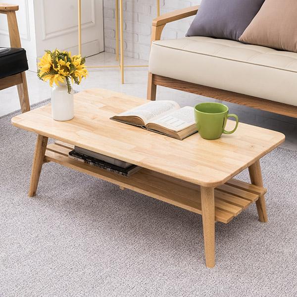[우드공간] 원목 접이식 거실테이블 소파테이블, 리빙선반형테이블(고무나무원목100%)