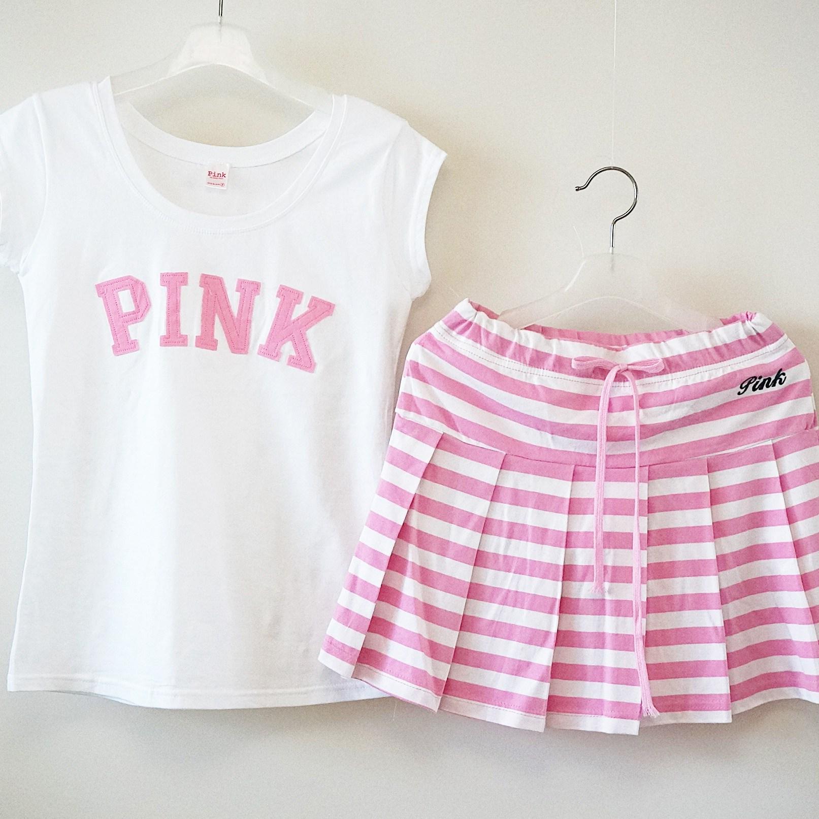 엠아이뷰티 Pink 스판티 단가라 줄무늬 주름 스커트 치마 바지 트레이닝 세트