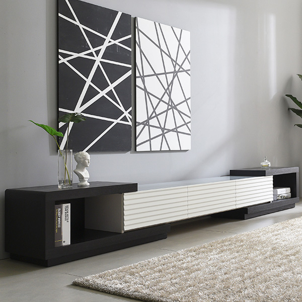 가구데코 모던라인 확장형 갤러리 거실장 SB0103, 블랙+화이트