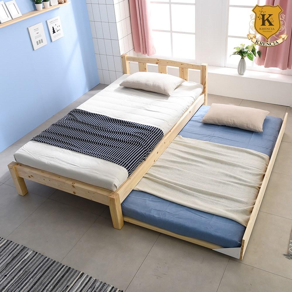 크렌시아 세이퍼 핀란드 원목 이단 슬라이딩 슈퍼싱글 침대 SS+견양면 매트리스X2, 내추럴