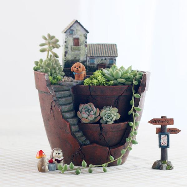 집들이 선물 테라리움 다육 식물 다육이 인테리어 화분, 깨진 화분