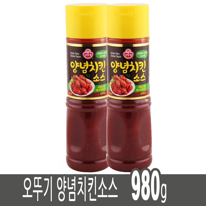 오뚜기 국내산원료 양념치킨 소스 980g 떡꼬치 너겟 만두강정, 490g, 2개