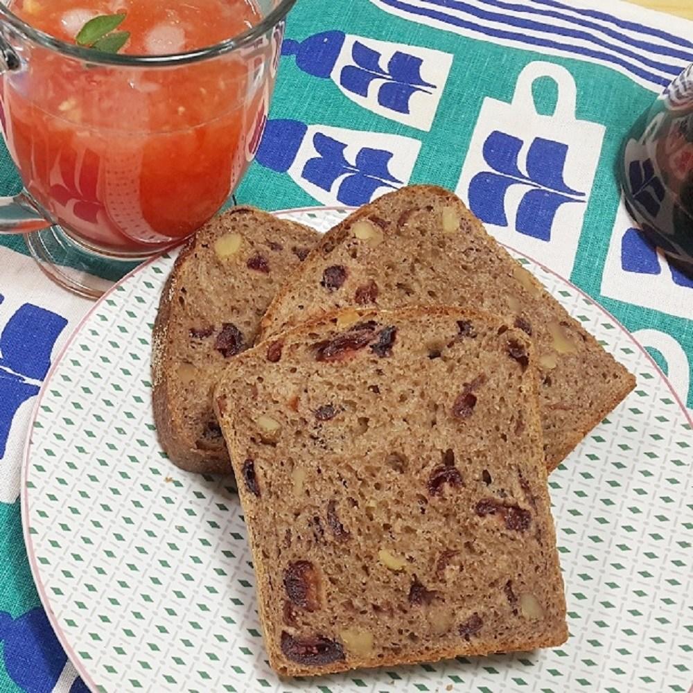 [더브레드천연발효빵] 유기농100%통밀빵_크랜베리 샌드위치빵 770g(통밀식빵 비건빵 무설탕빵 샌드위치식빵 건강빵 100%호밀빵), 1개