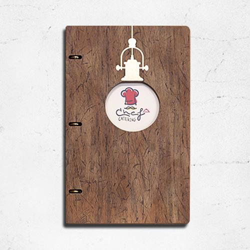 디자인13651 바인더 메뉴판 식당 레스토랑 카페 메뉴북 A4 투명 속지, 직사각 - 내추럴우드