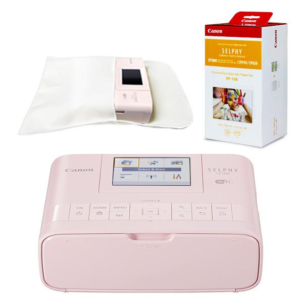 캐논 셀피 CP1300+인화지108매+잉크+디카셀파우치(포켓형) 세트, 베이비핑크