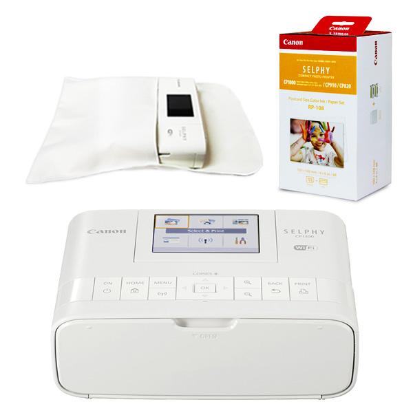 캐논 셀피 CP1300+인화지108매+잉크+디카셀파우치(포켓형) 세트, 화이트