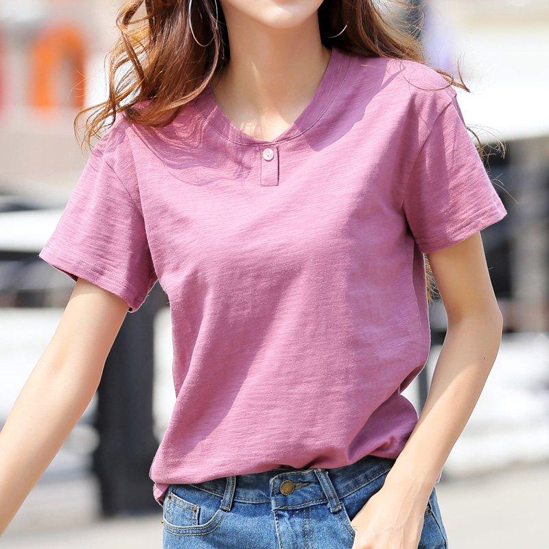 [빠리맘] 여성 반팔티 여름 티셔츠 기본티 면 라운드티 셔츠Z20