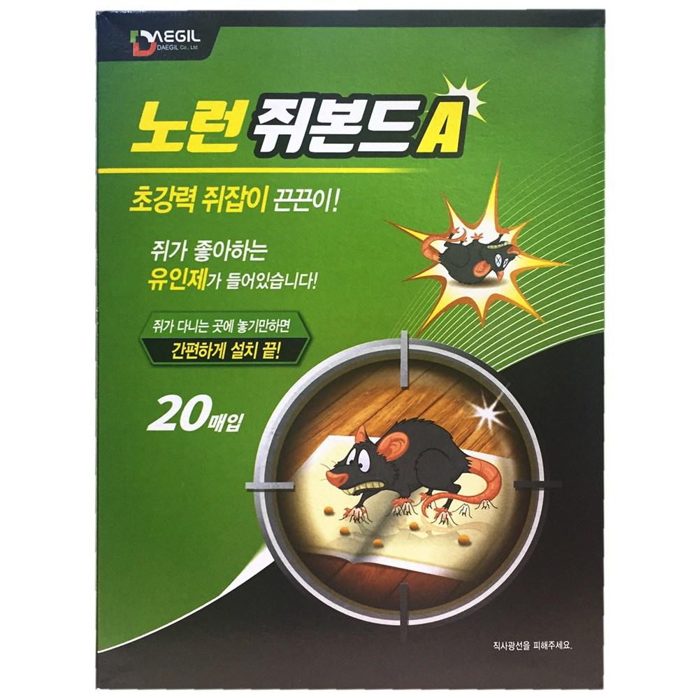 대길산업 노런 쥐본드A 20개입 쥐끈끈이 쥐덫 쥐약, 단일상품