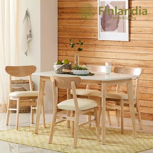 핀란디아 데니스 4인식탁세트(의자4) 식탁세트, 내추럴+화이트+아이보리