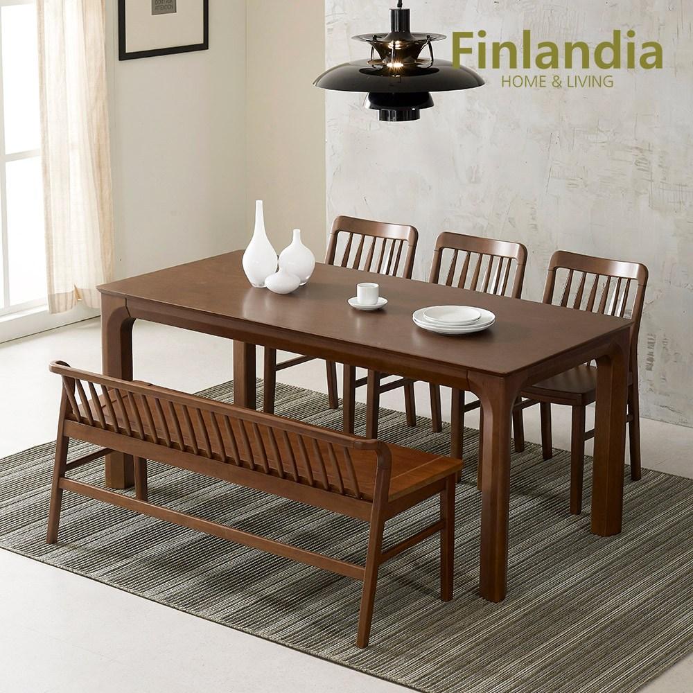 핀란디아 그레이스 원목 6인식탁세트(의자3+3인벤치) 식탁세트, 월넛