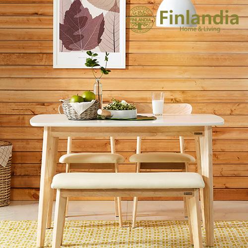 핀란디아 데니스 4인 식탁세트(의자2+벤치1) 식탁세트, 화이트상판4인식탁세트(의자2벤치1)