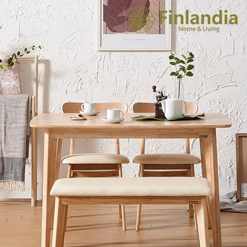 핀란디아 데니스 네츄럴 4인 식탁세트(의자2+벤치1) 식탁세트, 내추럴(상세이미지 참조),아이보리