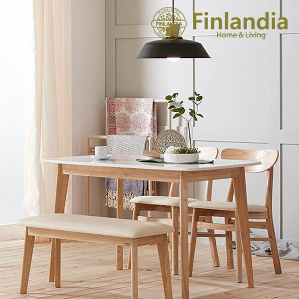 핀란디아 데니스 4인 대리석 (의자2벤치1) 식탁세트, 내추럴+화이트+아이보리