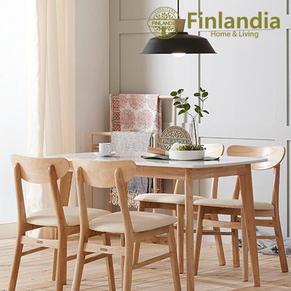핀란디아 데니스 4인 대리석 (의자4) 식탁세트, 내추럴+화이트+아이보리