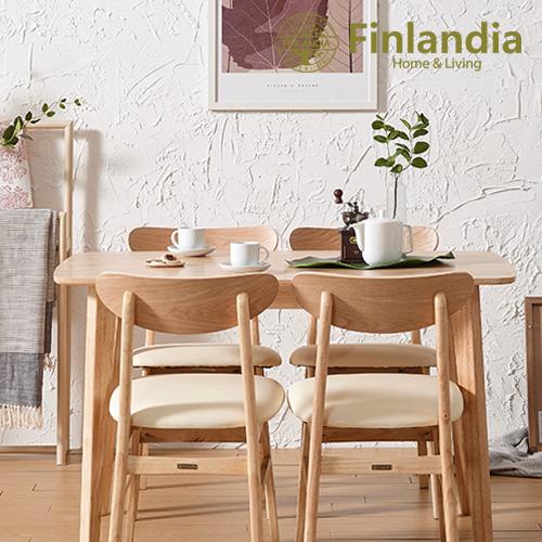 핀란디아 데니스 네츄럴 4인 식탁세트(의자4) 식탁세트, 내추럴(상세이미지 참조),아이보리