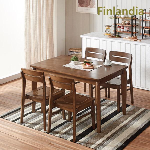 핀란디아 버베나 4인식탁세트(의자4) 식탁세트, 월넛