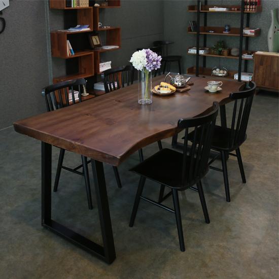 참갤러리 뉴송 우드슬랩 월넛 식탁 세트 (빗살원목의자 SET), 1400X700 SET (의자 4개)