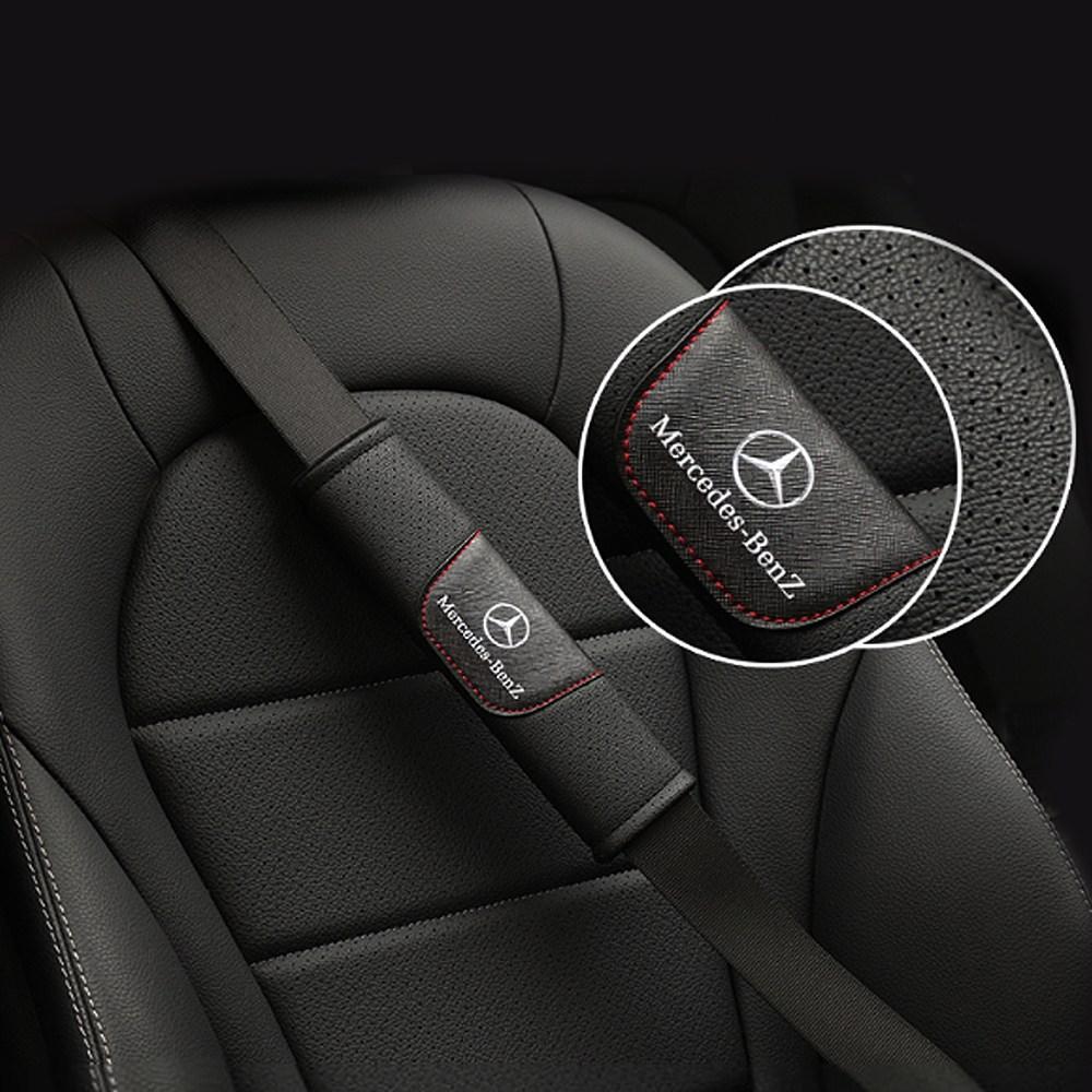 오토데코 벤츠 아우디 AMG 랜드로버 폭스바겐 포르쉐 재규어 고급 안전벨트쿠션커버, 디지털 안전벨트커버:벤츠(블랙), 1set