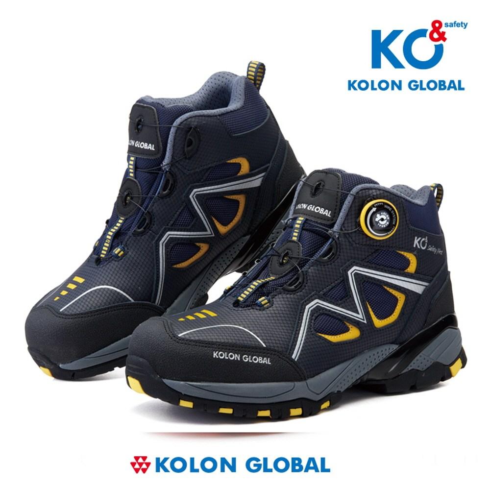코오롱 코엔 안전화 KG-60, NAVY + YELLOW, 235