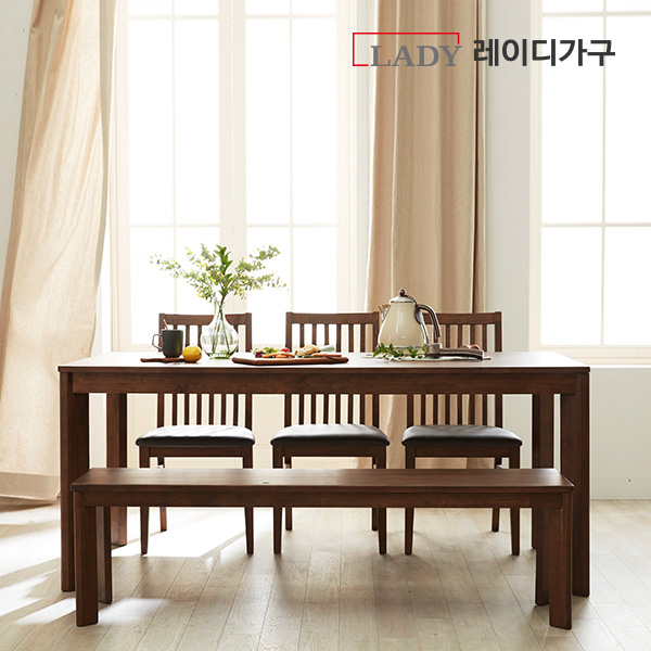 레이디가구 포엠 6인 원목 식탁세트 (벤치1 의자3), 내추럴