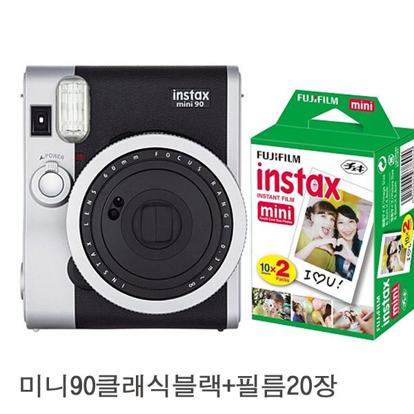 인스탁스 미니 90 네오 클래식 즉석카메라 + 필름 20장 세트, 단일상품, 블랙