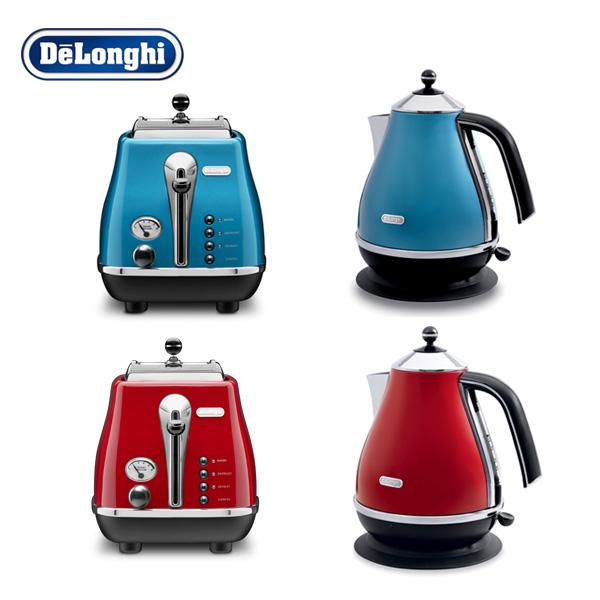 [드롱기] 아이코나 시리즈 전기주전자+토스터 세트(KBO2001+CTO2003), 전기주전자(블루)+토스터(블루)