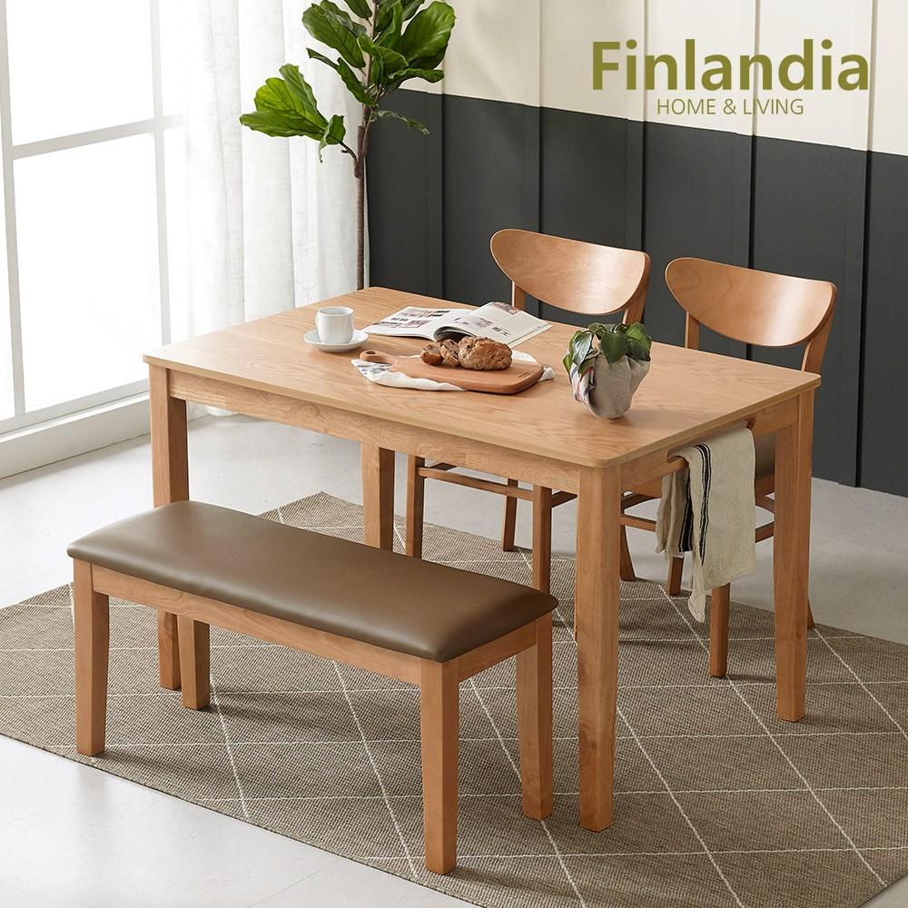 핀란디아 콜린 4인식탁세트(의자2벤치1) 식탁세트, 오크