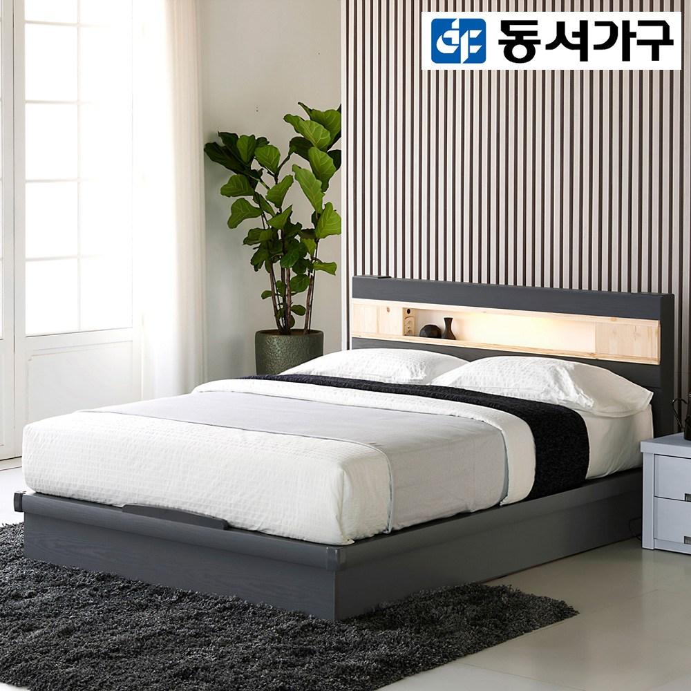 동서가구 세린 편백선반 LED 평상형 퀸 침대 프레임, 그레이