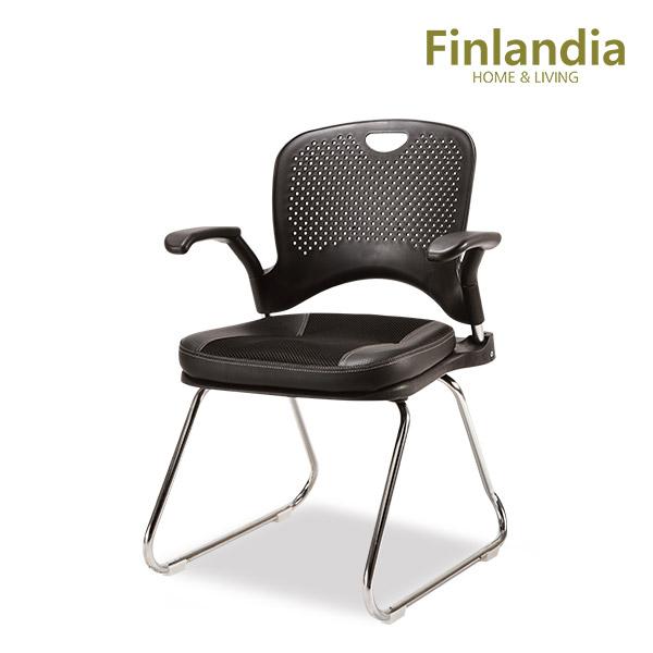핀란디아 보니아 고정식 책상의자(팔걸이형) 학생의자/사무용의자, 블랙