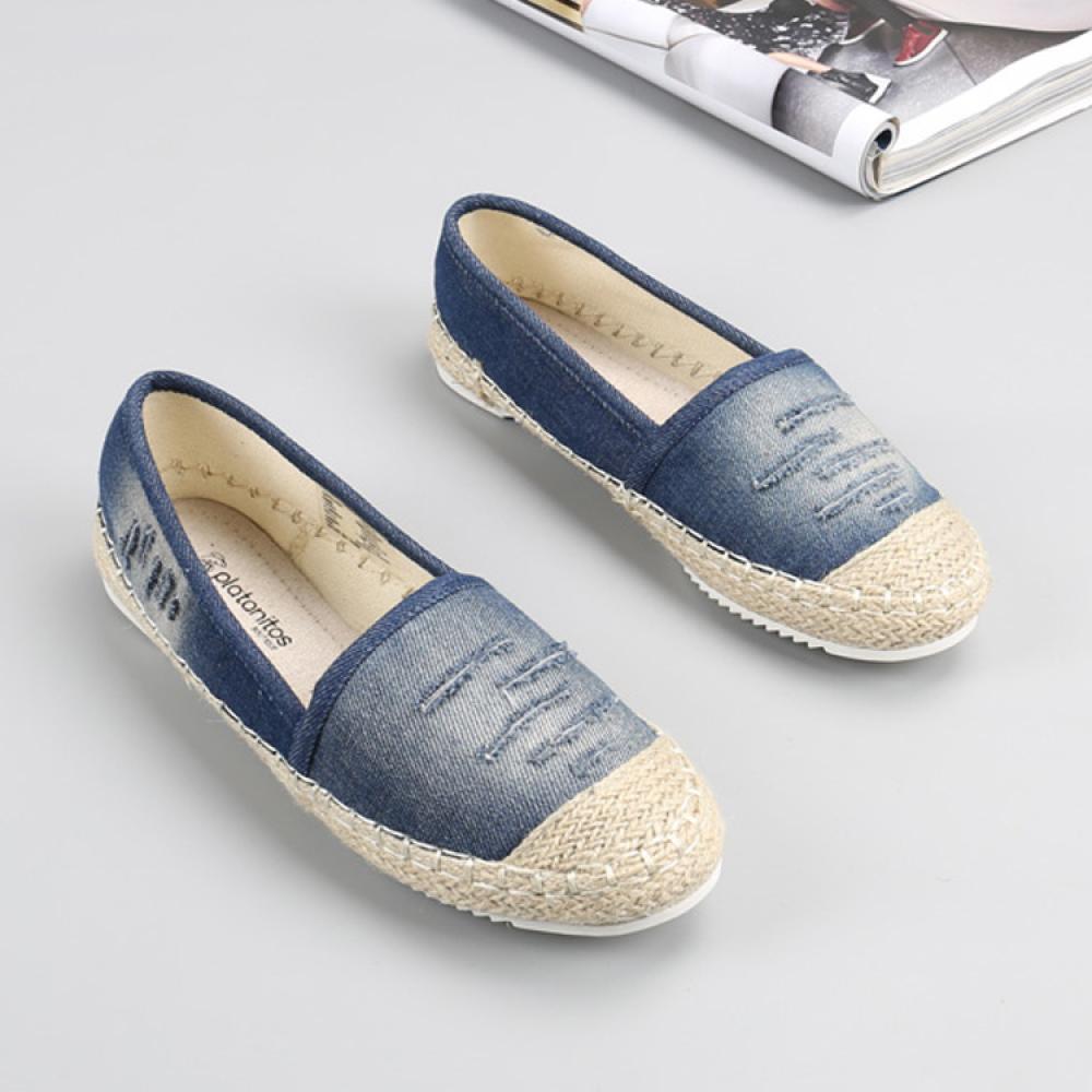 MJ 여성 블루 에스파듀 슬립온 여름 신발 wld