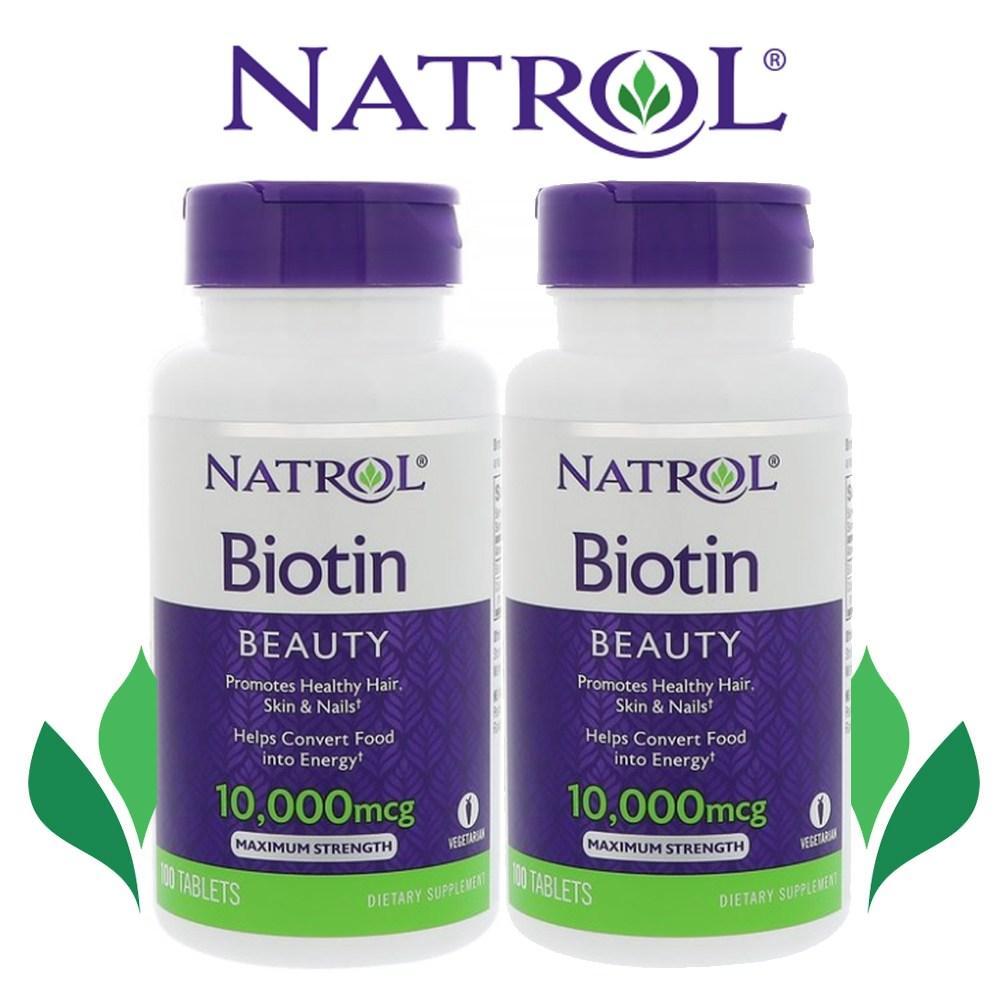 나트롤 1+1 Natrol Biotin 10000 mcg 맥시멈스트렝스, 2개