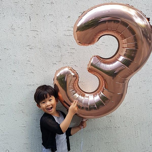 굿벌룬 숫자풍선 가장큰 대 사이즈 로즈골드 대형숫자풍선 핑크골드, 숫자 3, 1개