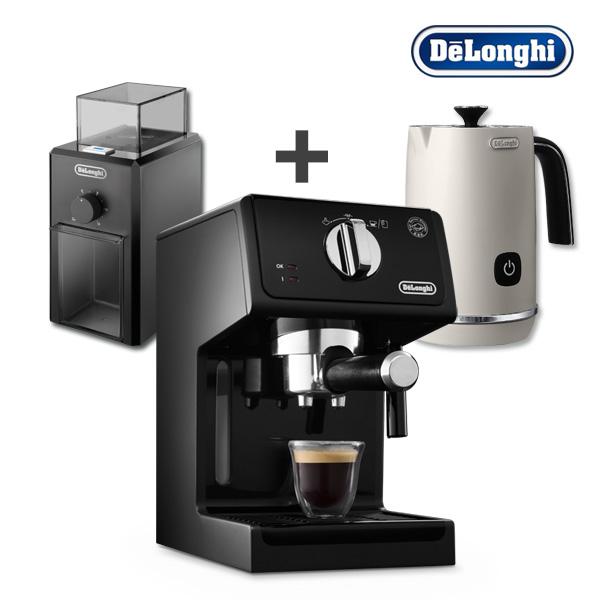 [드롱기] 반자동 커피머신+커피 그라인더+우유거품기(구름치노) 세트, ECP31.21+KG79+KREMFI.W