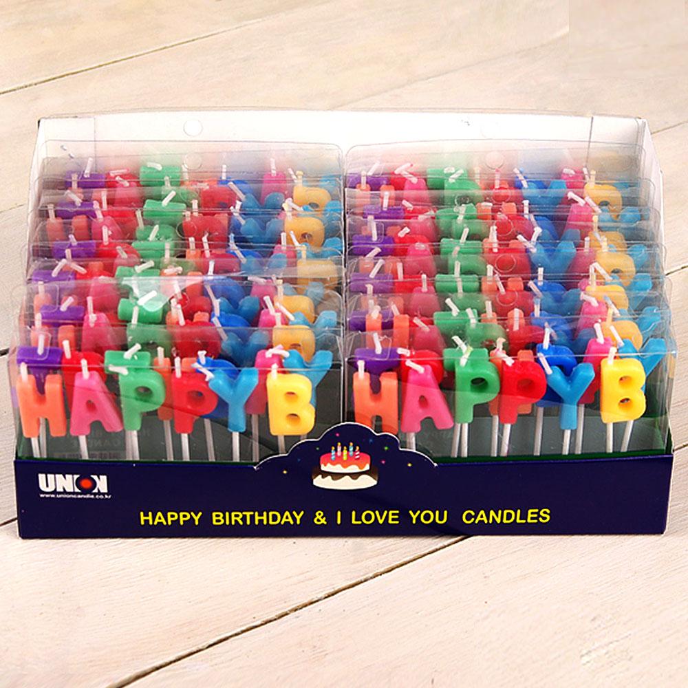 달곰베이킹 생일초 케익칼 이벤트용품, 1개, 68-초-해피버스데이-12개