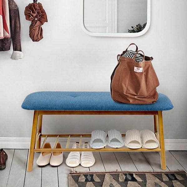 프리메이드 도담 원목 인테리어 벤치의자 중형, 블루
