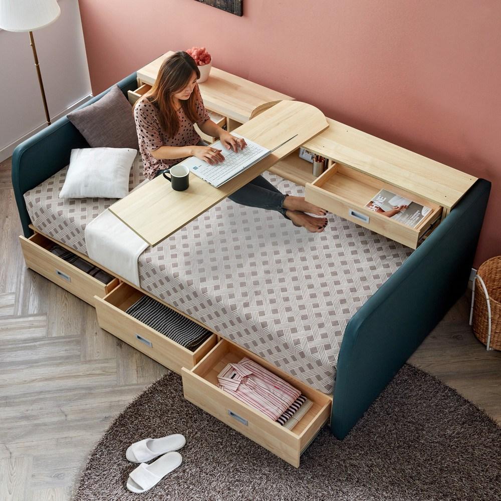 마티노가구 특허받은 접이식 테이블과 수납공간 멀티 싱글 침대프레임, 카키 침대프레임