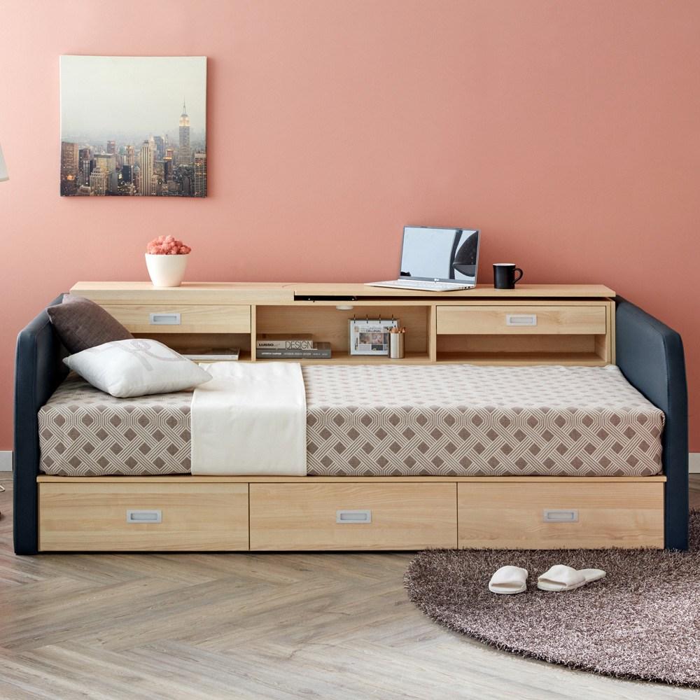마티노가구 특허받은 접이식 테이블과 수납공간 멀티 싱글 침대프레임, 네이비 침대프레임