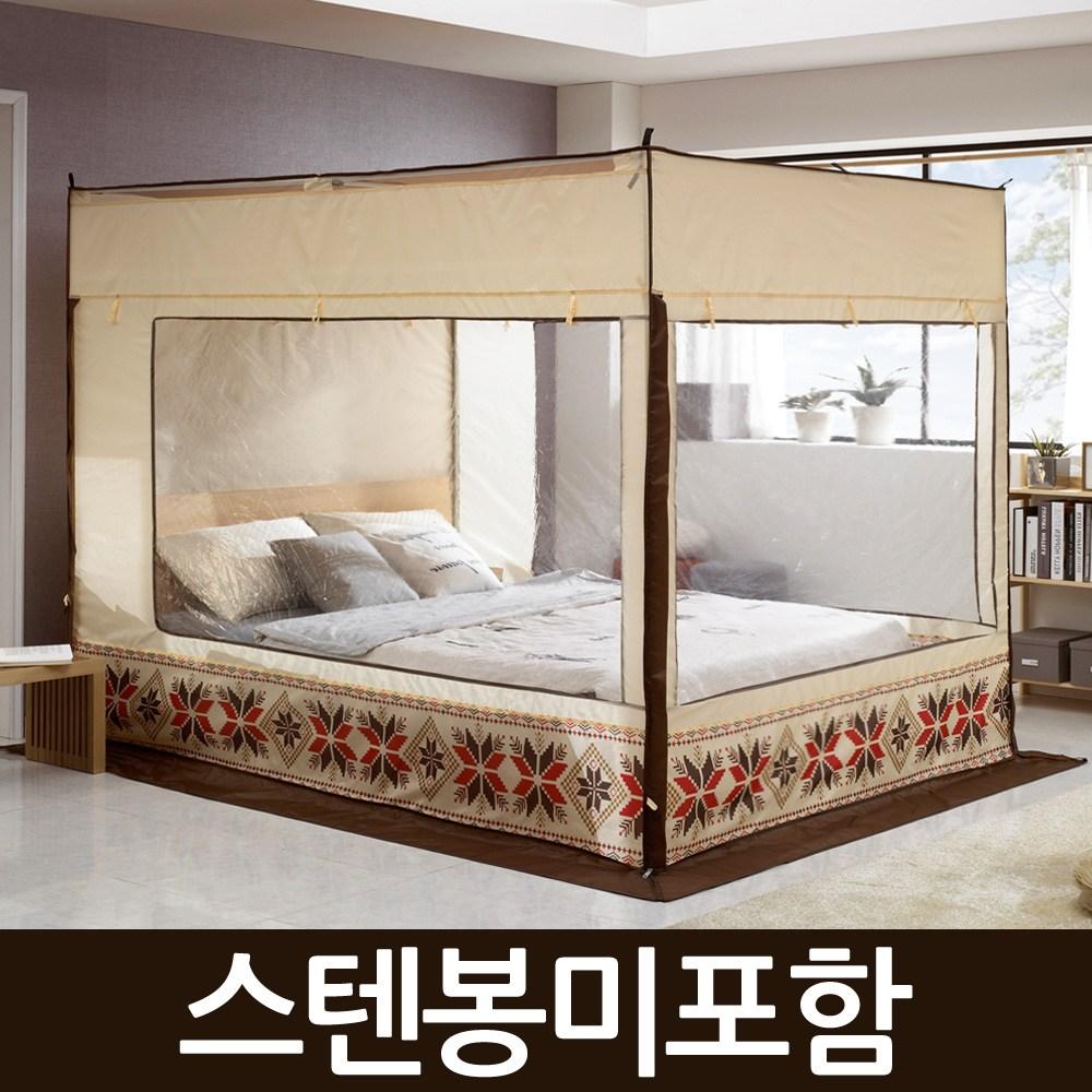 알뜨리 사각 난방 방한 보온 텐트(스텐봉미포함) 난방텐트, 베이지(일반형)