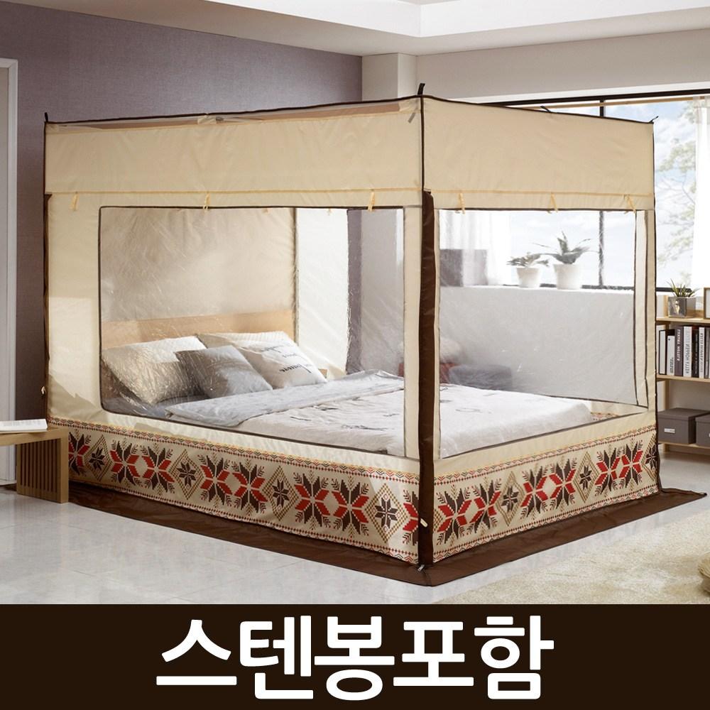 알뜨리 사각 난방 방한 보온 텐트(스텐봉포함) 난방텐트, 베이지(일반형)