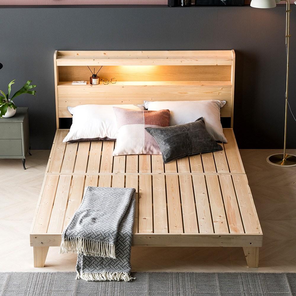아씨방가구 LED 원목마루 평상형침대 프레임Q, 단일상품
