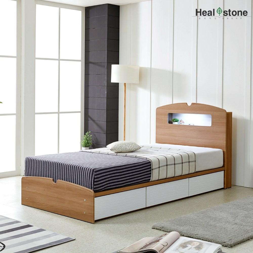 힐스톤 잘자요LED서랍침대 시크릿수납, 잘자요 LED서랍침대(아카시아웨이브화이트)+본넬양면